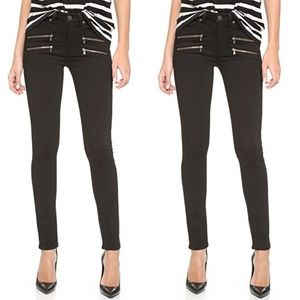 Paige Edgemont black skinny jeans with zippers 24